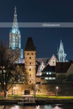 """Danube view of Ulm"", Ulm - mural, aluminum dibond, acrylic, canvas, poster, photo 60x90 80x120 100x150"