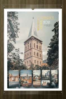 Calendar Osnabrück, the cover page with the rooftop of St. Catherine's Church vertical