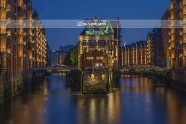 """Moated Castle Speicherstadt"" Hamburg - mural, canvas, poster, photo 90x60 120x80 150x100"