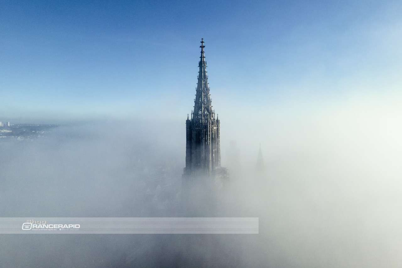 Mural - tower of Ulm Minster out of the fog