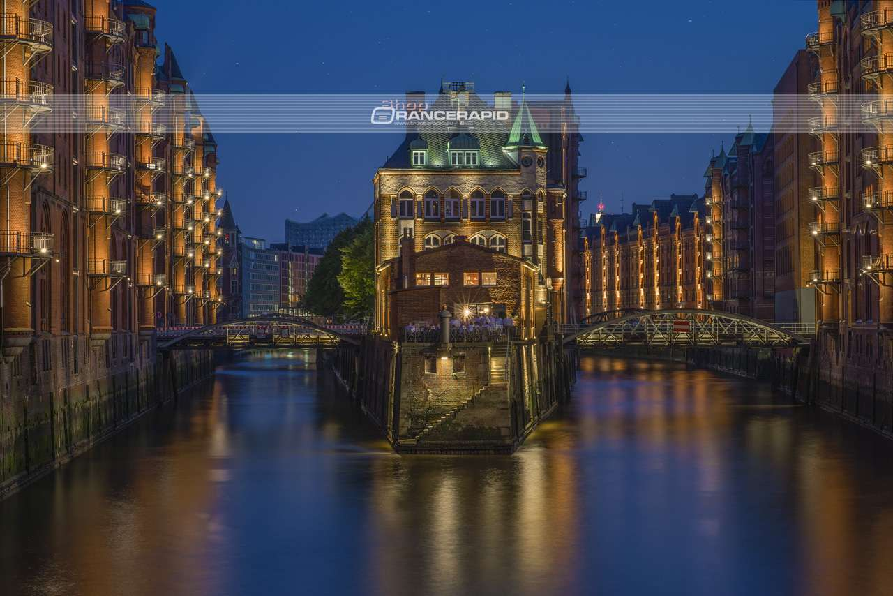The moated castle of the Speicherstadt in Hanseatic city, Hamburg. One of the most popular destinations for tourists and photographers.